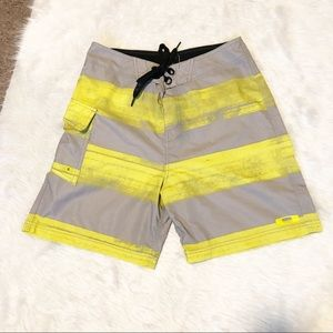 Oakley yellow and gray board shorts size 30